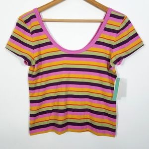 Abound Nordstrom Stripe Boat Neck Cropped T Shirt